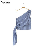 Vadim women sexy one shoulder striped crop tops sleeveless backless shirts ladies summer casual brand tops blouses WT479