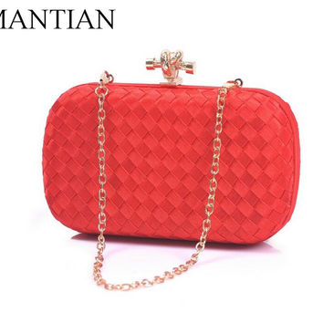 Women Evening Clutch Bag Silk Weave Party Portable Pouch Lady Chain Bag Female Handbags Wedding Gifts