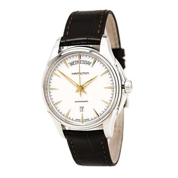 Hamilton H32505511 Men's Jazzmaster Silver Dial Brown Leather Strap Automatic Watch