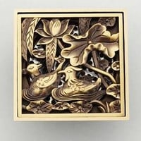 Antique Copper Anti-Odor Square Mandarin Ducks Bathroom Accessories Sink Floor Shower Drain Cover Luxury Sewer Filter K-8856