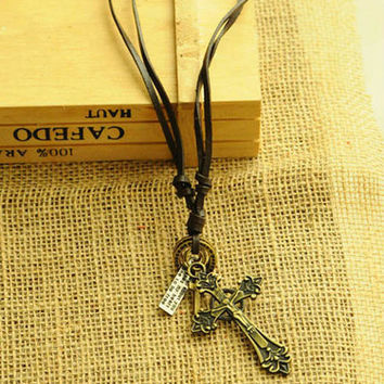 Women Men Necklace Leather With Cross Pendant