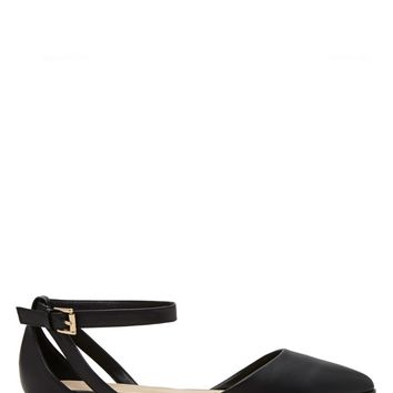 Faux Leather Ankle-Strap Flats