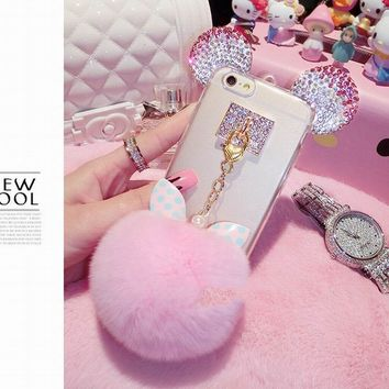 Fashion Crystal Soft TPU Cover For iPhone 7 6 6s Plus SE 5 5s Case Cute 3D Cartoon Mouse Mice Ears Bowknot Fur Ball Tassel Funda