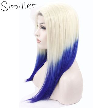 Similler Short Straight Synthetic Lace Front Wig 613 T Blue Ombre Color With Dark Root Heat Resistant Half Hand Tied 150%