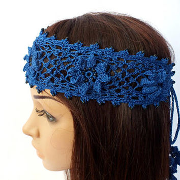 OOAK Irish Lace Crochet Headband Dreadlock Head Wrap Blue Boho Wooden Beaded Women Wedding Bridal Cotton Hair Snood