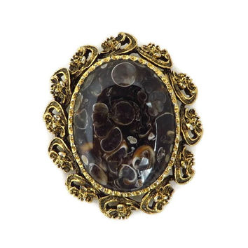 Vintage Art Glass Gold Tone Brooch, Framed Brown Raindrops Pin