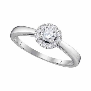 10kt White Gold Womens Round Diamond Solitaire Halo Bridal Wedding Engagement Ring 1/3 Cttw