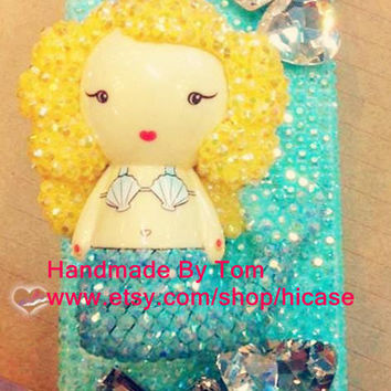 Bling little mermaid iphone 5s case iphone 5c iphone 5 case iphone 4 iphone 4s 3D cute samsung galaxy s4 case galaxy s3 mini note 2 note 3
