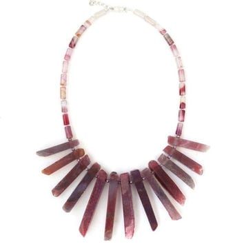 Pink stone necklace, agate, quartz points, collar statement necklace