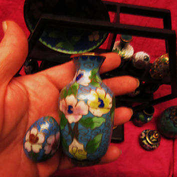 "Amazing Vintage Cloisonne  Miniature Blue Set of 2  Vase  3 "" And Egg  Free Shipping in USA SALE"