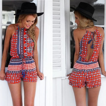Women Boho Sleeveless Floral Printed Round Collar Backless Jumpsuit Short Dress Beach Playsuit Romper S-XL = 4904899396