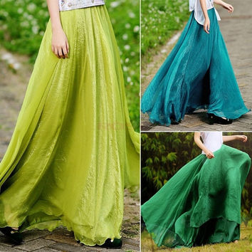 Women Sexy Summer Skirts New Retro Lady Full Circle Boho Gauze Chiffon Long Skirt Pleated Long Maxi Skirt SV002728 One Size [7941637127]