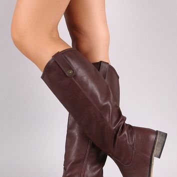 Vegan Leather Side Pull-Tab Flat Knee High Riding Boot