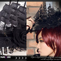 Goth visual Victorian SteamPunk Ghost ship pirate Fascinator hairclip SP044 BK