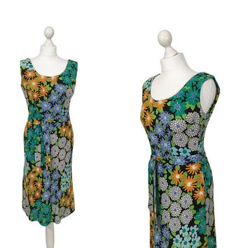Floral Summer Dress | 1970's Sun Dress | Orange, Green And Blue Patterned Vintage Dress