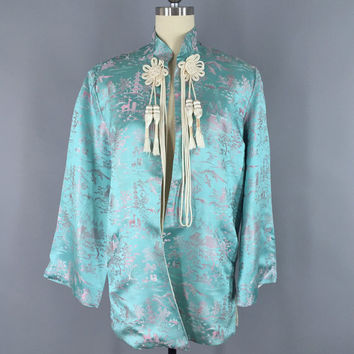 Vintage 1960s Jacket / 60s Asian Blue Satin Brocade Coat / 1960 Novelty Print Pagoda Deer Fawn / New Old Stock