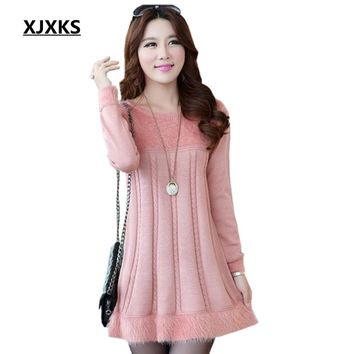 XJXKS New 2017 Women's Autumn And Winter Plus Size Loose Mohair Long Sweater Fashion Knitwear Dress Bottoming Pullover