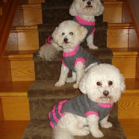 Dog dress, Dog clothes, silver grey trimmed with hot pink dog dress, pet clothes, cat dress with five frills, lovely gift for your fur baby