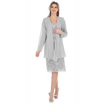 Lace Knee Length Semi Formal Dress with Long Sleeve Jacket Silver