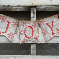 Joy Burlap Banner, Christmas Banner, Holiday Decor, Rustic Winter Decor, Holiday Photo Prop