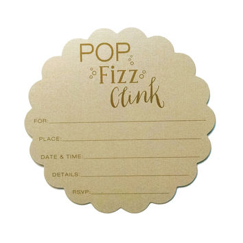 Pop, Fizz Clink Scalloped Fill-in Invitations - 10 pack