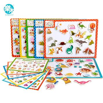 3D Magnetic Puzzle  wooden jigsaw puzzle for children early education wooden toy cartoon animals maps puzzles free shipping