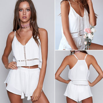 Summer Women's Fashion White Sexy Hollow Out Spaghetti Strap Tops Pants Set One Piece Dress [10893320015]