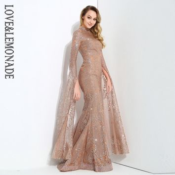Rose Gold Cut Out Speaker Long Sleeve Geometry Glitter Glued Maxi Dress