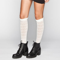 Crochet Womens Knee High Socks Ivory One Size For Women 22811216001
