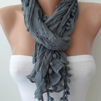 Grey Fashion Shawl / Scarf with Pompom --
