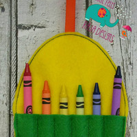 Easter egg crayon holder embroidered, crayon roll, arts, crafts, party favor, grab bag, art supplies, art supply, crayon, egg, kids, childs