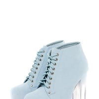 Amara Baby Blue Suedette Lace Up Perspex Block Heel Boots