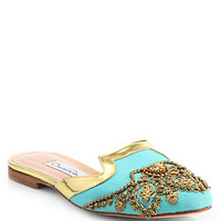 Oscar De la Renta - Beaded Canvas Spanish Mules