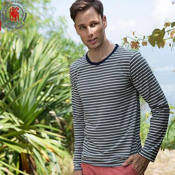 Winter Long Sleeve Blue Striped T Shirt Men Casual Tee Shirts High Quality Male Cotton T-shirt