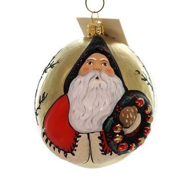 Vaillancourt JINGLE BALL SANTA WITH WREATH Glass Poland Hand Painted Or18501