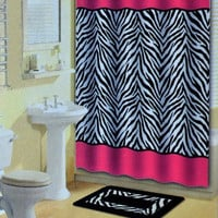 Bath Boutique 15-Piece Bathroom Set, Pink/Black Zebra