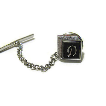 Silver Tone and Black Vintage Swank Initial Letter D Tie Tack Pin