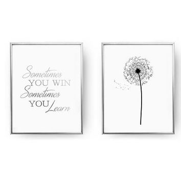 Set Of 2 Prints, Sometimes You Win Sometimes You Learn, Bedroom Poster, Real Gold Foil Print, Dandelion Print, Typography Art, Home Decor