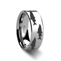 Salmon Fish Engraved Tungsten Carbide Ring Flat Polished