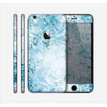 The Bright Light Blue Swirls with Butterflies Skin for the Apple iPhone 6 Plus