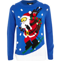 River Island Boys blue skiing santa Christmas sweater