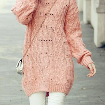 Pink Long Sleeve Hollow Lace Backless Pullovers Sweater - Sheinside.com