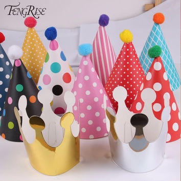FENGRISE 11 Pieces Happy Birthday Party Hats Polka Dot DIY Cute Handmade Cap Crown Shower Baby Decoration Boy Girl Gifts Supplie