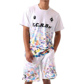 BAPE x FCRB GAME SHIRTS Joint Camouflage Men's Football Series Short Sleeve Shirt Set white