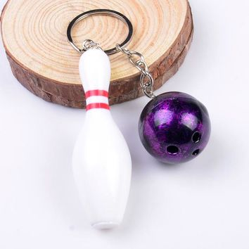 Family Friends party Board game RE 100pcs/lot Free Shipping 3D Bowling Ball Key Chains Multiple Color Casual Sporty Style Men Women Teenager KeyRing KeyChain AT_41_3