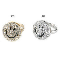 2 pcs/set(gold/silver) fashion jewlery store full crystal rhinestone designer smile face finger ring Jewelry for women = 1668784708