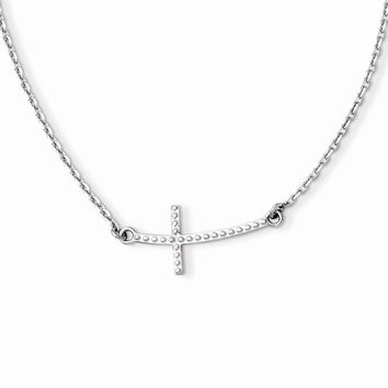 14k White Gold Sideways Curved Textured Cross Necklace