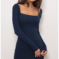 Day dresses > Gigi Long Sleeve Rib Dress
