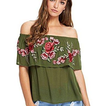 Floerns Womens Ruffle Off Shoulder Rose Embroidery Loose Blouse Top