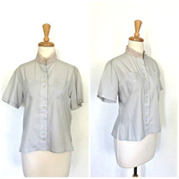 Vintage Cotton Blouse - 50s blouse - 1950s shirt - button up  - short sleeve - summer fashion - Medium